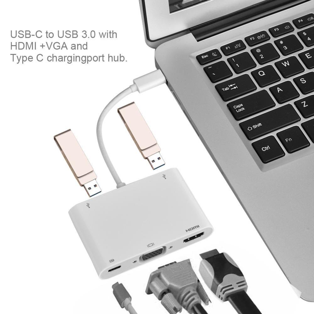 Bộ chuyển đổi sạc Type-C sang VGA + HDMI + Type-C + 2 USB3.0 cho Macbook Trắng – intl