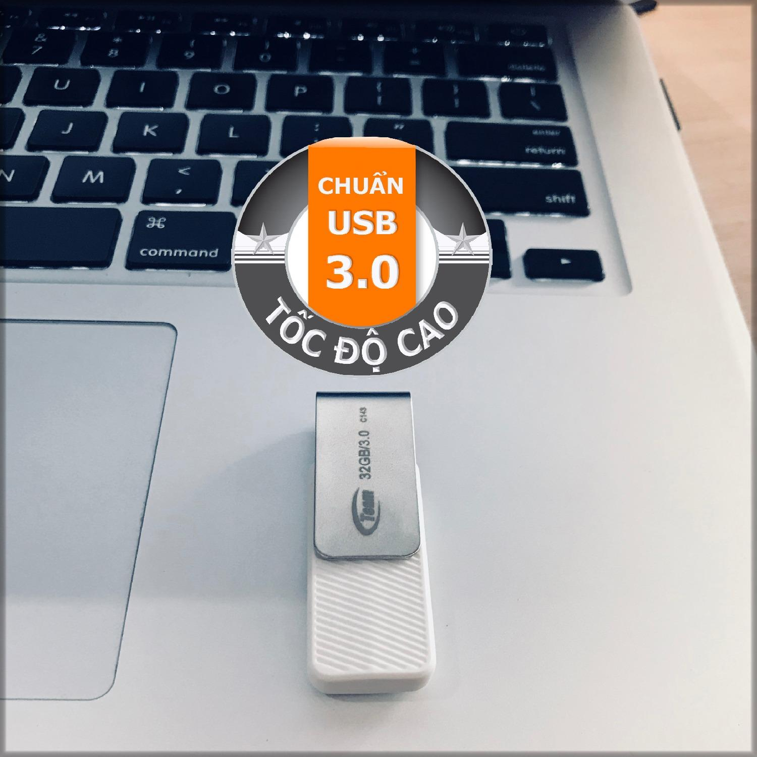 USB 3.0 32GB Team Group INC C143 (Trắng) + Tặng đèn LED USB