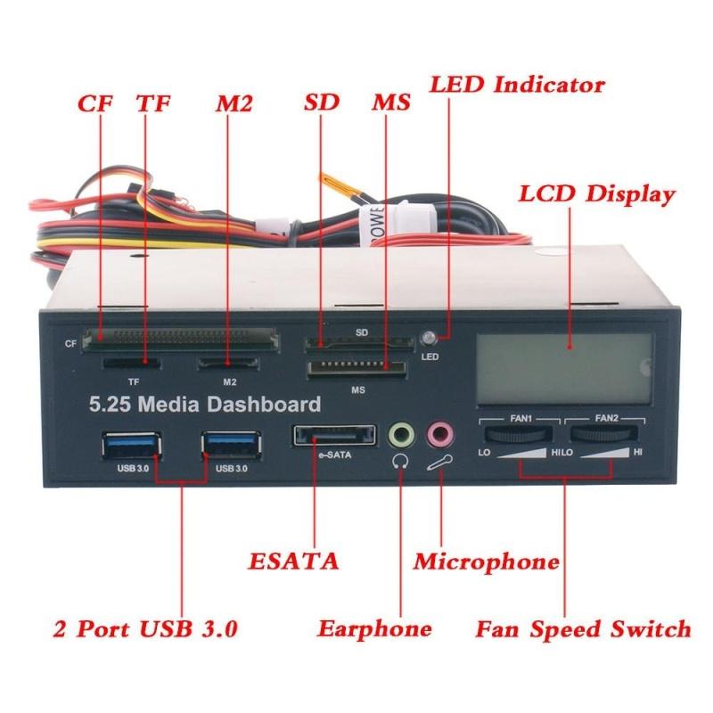 Bảng giá USB 3.0 5.25 LCD Media Temp Dashboard Front Panel Multi Card Reader SATA ESATA - intl Phong Vũ