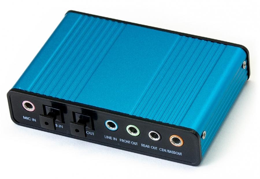 Giá Khuyến Mại USB điều khiển âm thanh China Card Sound box 5.1 (Xanh)