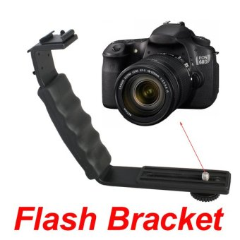 Video Light Camera Flash L-bracket With 2 Standard Flash Shoe MountBrack - Intl