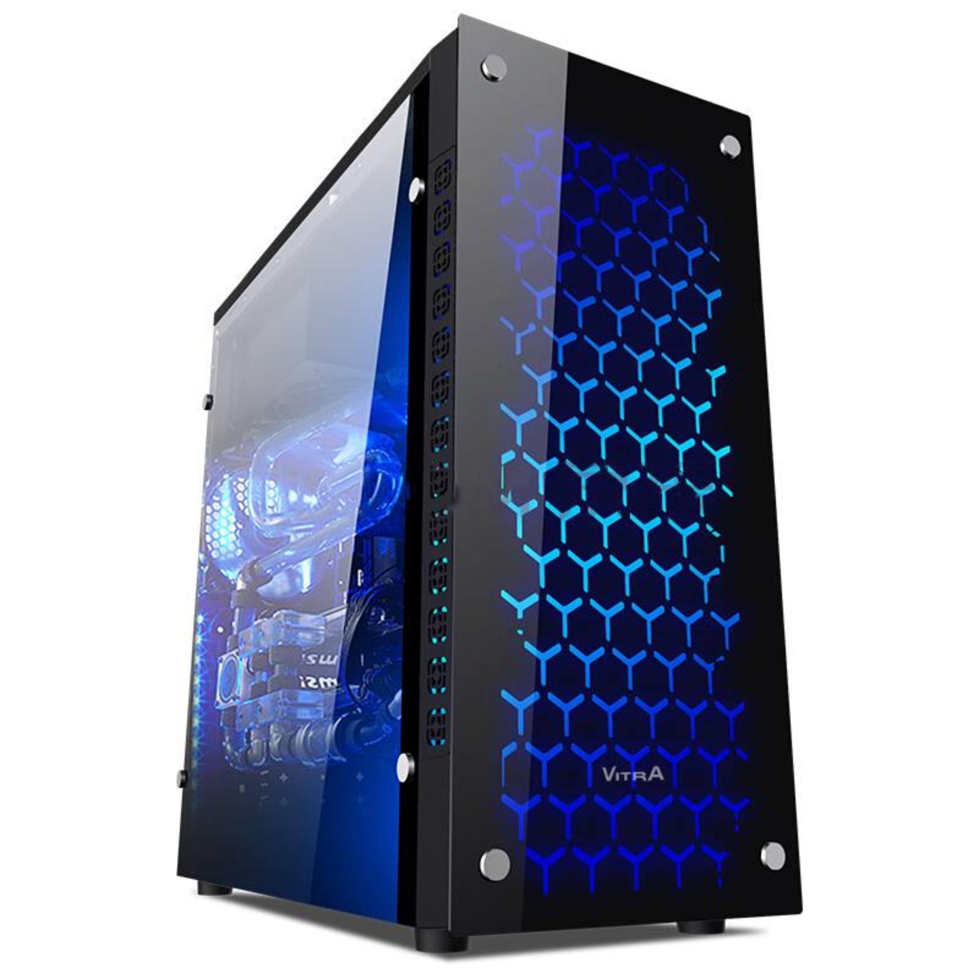 Vỏ Case Vitra Royal X100 ATX +1 Fan 12CM Blue LED