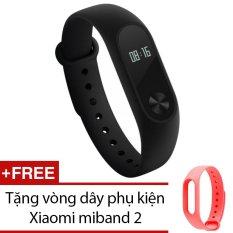 Vòng đeo tay Xiaomi Miband 2 (Đen) + Tặng vòng dây phụ kiện Xiaomi miband 2 (Hồng)