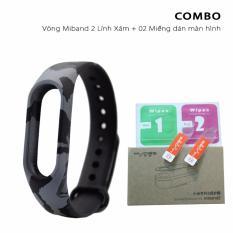 Vòng đeo thay thế miband 2 màu lính + 02 miếng dán màn hình