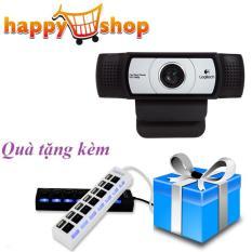 Webcam Logitech C930e cao cấp Video Call Full Hd, Lấy Nét Tự Động, Ống Kính Zeiss Zoom 4x, Dual Mic Tặng kèm Hub chia 7 cổng usb 2.0 tốc độ cao có công tắc tắt mở