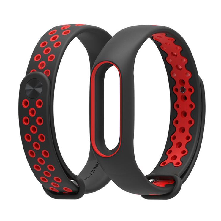 Xiaomi Miband 2 dây đeo thay thế hiệu Mijobs thoát khí cao cấp (đen – đỏ)