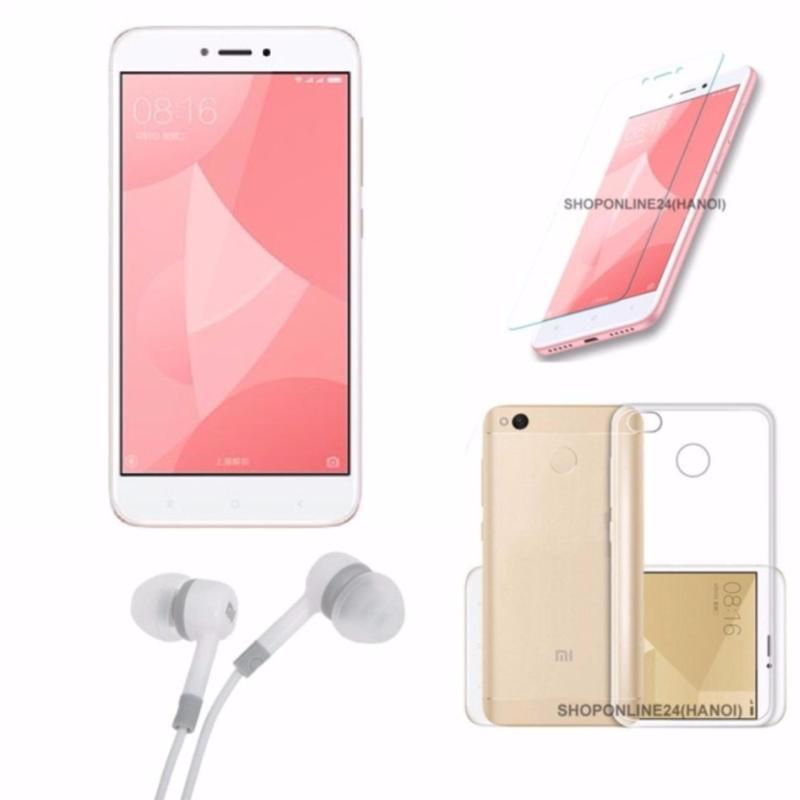 Xiaomi Redmi 4X 32GB Ram 3G (Hồng) + Tai nghe + Ốp Lưng + Kính Cường Lực - Hàng nhập khẩu
