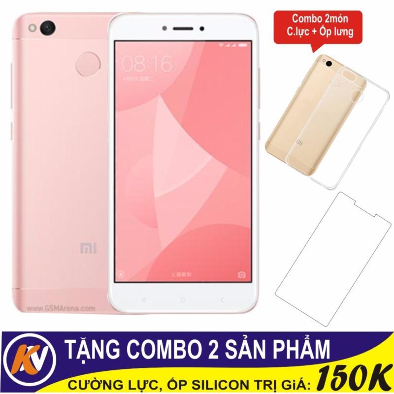 Xiaomi Redmi 4X 32GB Ram 3GB Kim Nhung (Hồng) + Cường lực + Ốp Silicon - Hàng nhập khẩu