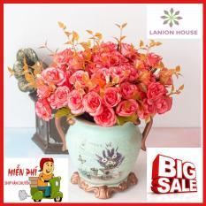 1 cành 14 hoa hồng Châu Âu hoa nhân tạo cao cấp, hoa giả trang trí, hoa giả treo tường, hoa giả, hoa giả để bàn, hoa silicon, hoa giả cao cấp nhiều màu MS 04 LANION HOUSE