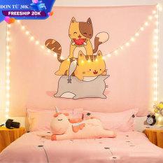 Thảm treo tường, chất liệu polyester size mẫu Mèo Ăn Dưa, trang trí phòng ngủ, vải treo tường, Decor phòng ngủ, tranh vải treo tường phòng ngủ,trang trí phòng ngủ cute