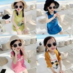 Váy Cotton Sát nách họa tiết nhiều màu cho bé gái 8-18kg QATE627