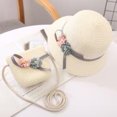 Bộ nón vá túi cói cho bé gái. Quà tặng đáng yêu cho bé từ 5-12 tuổi.