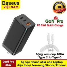 Bộ sạc có dây cực mạnh sạc siêu nhanh Baseus GaN 2 Pro 65W tặng kèm cáp 100W, 1 cổng USB, 2 cổng Type-C Hỗ trợ QC 4.0, QC 3.0, PD 3.0 cho điện thoại Iphone 11 Pro, MacBook Pro, Samsung, Xiaomi, Huawei