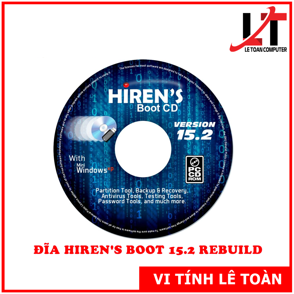 Đĩa CD Hirent's Boot 15.2 Cứu Hộ Máy Tính