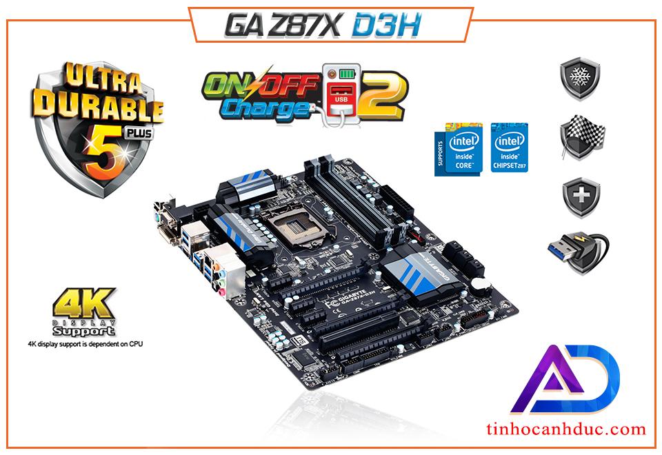 Main GIGA GA Z87X-D3H 4 Khe RAM support Intel thế hệ thứ 4 thứ 5 core i3, i5, i7 DDR3 32G Có HDMI DVI âm thanh 8 kênh SOKET 1150 tặng kèm keo tản nhiệt