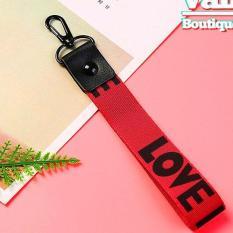 Móc Khóa Dây Strap Cực Đẹp – Móc Khóa Dây Vải Ngắn Hình LOVE màu đỏ – Tặng kèm 1 dây móc điện thoại