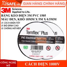 Băng keo điện 3M PVC 1505 cách điện 1KV, chống cháy lan 3M Temflex Plus Harnessing Tape (PVC)- 1505 Temflex plus FR