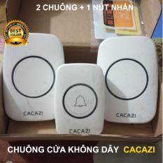 Chuông cửa không dây Cacazi A10 (loại 2 chuông + 1 nút nhấn) chống nước (loại cao cấp)