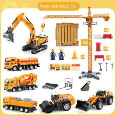 Bộ đồ chơi công trình xây dựng, mô hình xe cho bé tăng trí tưởng tượng và phát triển trí tuệ, chất liệu nhựa an toàn