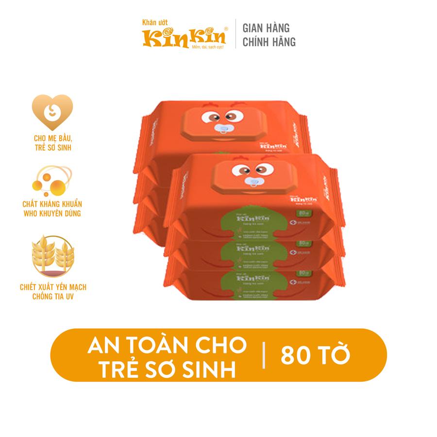 Combo 6 Khăn ướt vệ sinh Kin Kin 80 tờ/gói Mùi trà xanh/Không mùi an toàn cho bé