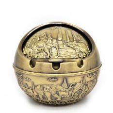 Gạt tàn tinh cầu hợp kim, có nắp, cổ điển (đồng vàng)[HKD]
