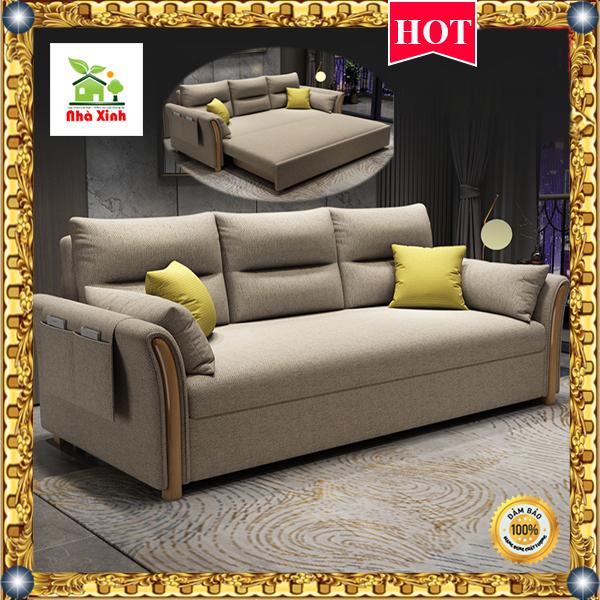 (Hàng Cao Cấp) Giường Sofa đa năng thông minh – ( có hộp để đồ) KT : 190 x 180/150 cm ( Màu Vàng Nhạt, Xám Đậm)