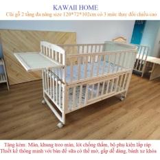 [TẶNG MÁY SẤY TÓC] Giường cũi ngủ cho bé size 120*72*102cm. Gỗ thông, thiết kế bàn để sữa, khóa bánh, ghép cạnh giường cha mẹ, kéo dài cũi. KAWAII HOME