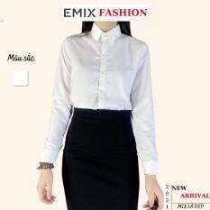 Áo sơ mi nữ công sở EMIX (màu trắng), dài tay, form rộng, cổ sơ mi, chất lụa thô mềm mịn, không nhăn, không lộ