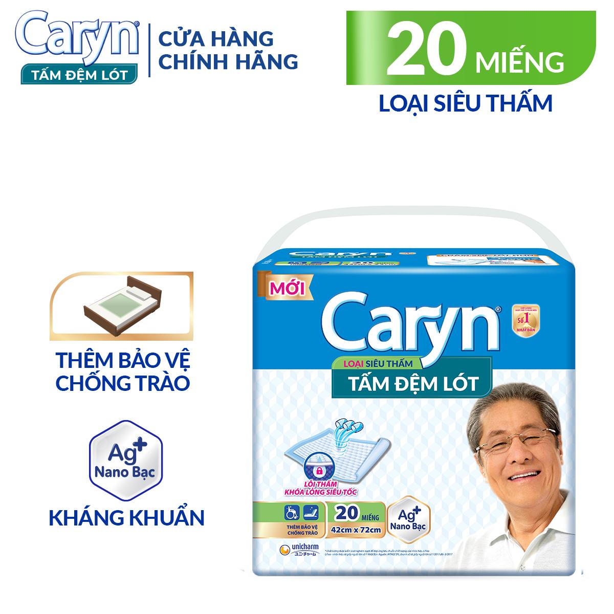 Tấm đệm lót Caryn siêu thấm 20 miếng giúp bảo vệ chống trào, với công nghệ nano bạc kháng khuẩn ngăn ngừa vi khuẩn và kiểm soát mùi hiệu quả