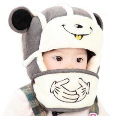 Mũ len trùm đầu kèm khẩu trang cho bé Chất liệu vải len dệt trần bông lót nỉ Thích hợp cho trẻ sơ sinh tới 3 tuổi