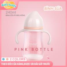 Bình sữa CKBEBE – nhựa PP chống vỡ – miệng bình rộng dung tích 240ml, Bình tập uống cho bé có đế chống trượt, bình sữa cầm tay