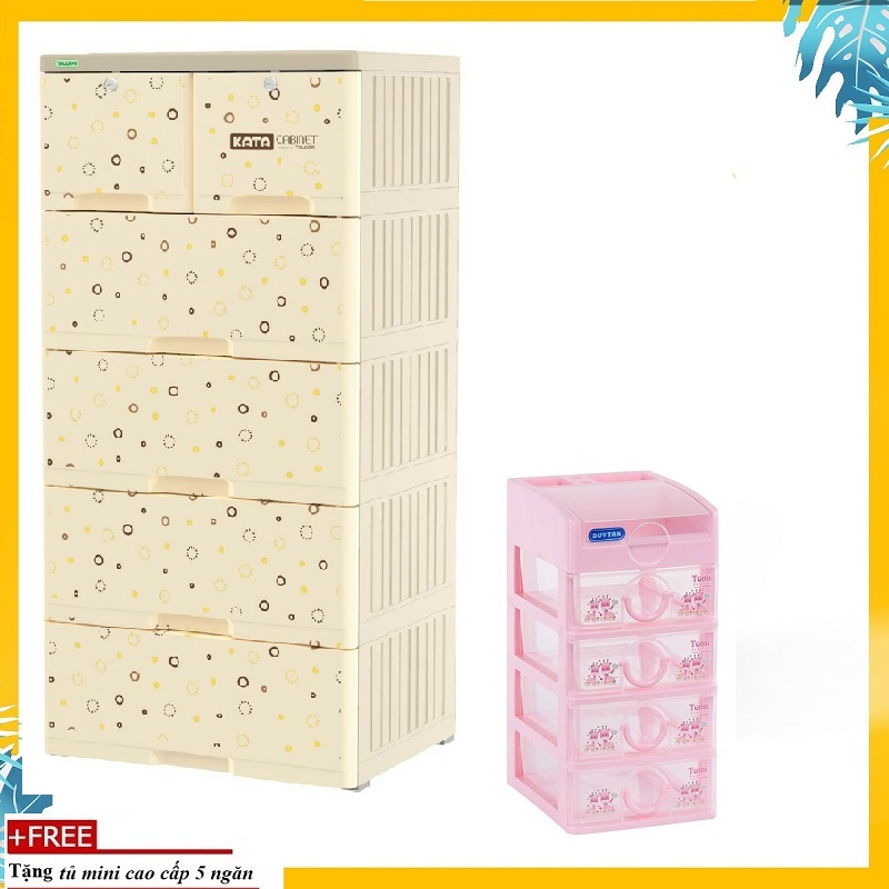 [HCM]Tủ nhựa KATA 5 tầng- TẶNG KÈM TỦ MINI 5 TẦNG