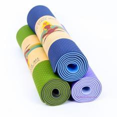 Thảm tập yoga 2 lớp hoa văn loại xịn dày 8mm tặng kèm bao đựng
