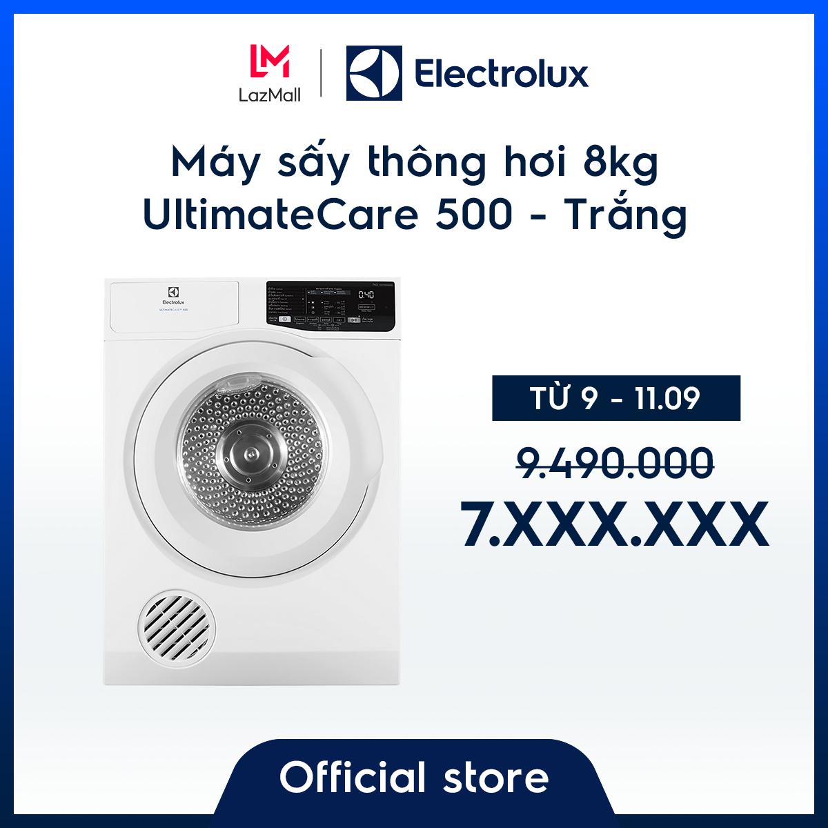 [Miễn phí lắp đặt – Giao hàng HCM & HN] Máy sấy Electrolux thông hơi 8kg UltimateCare 500 EDV805JQWA – Màu trắng – Thiết kế sang trọng – Công nghệ sấy đảo chiều – Giữ màu sắc yêu thích – Hàng chính hãng