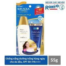 Sữa chống nắng hằng ngày dưỡng trắng Sunplay Skin Aqua Clear White SPF 50+ PA++++ 55g + Tặng Kem rửa mặt Hada Labo 25g