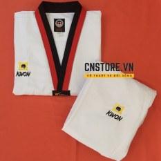 Quần Áo Võ – Võ Phục Taekwondo Cổ Đỏ Đen Vải Sọc Kwon Dày Dặn Bền Chắc