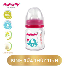 Bình Sữa Thủy Tinh Cổ Rộng Chống Sặc, Chống Đầy Hơi Cho Bé Mamamy 120ml