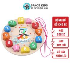 Đồ chơi gỗ thông minh Đồng hồ gỗ cho bé học số, hình khối, màu sắc và học xem giờ, chất liệu gỗ tự nhiên Space kids