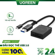 Đầu đọc thẻ USB 3.0 Card Reader Hỗ trợ thẻ TF và SD dài 15CM UGREEN CR127 20250 – Hãng phân phối chính thức