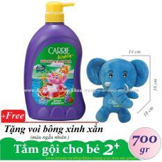 CARRIE JUNIOR-Tắm gội toàn thân cho bé hương Grapeberry ( Nho + Dâu ) 700 gr + Tặng voi bông ( màu ngẫu nhiên xanh/ hồng )