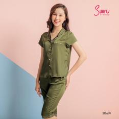 Sunfly Bộ nữ mặc nhà, Bộ pijamas lụa áo cộc quần ngố ST8649