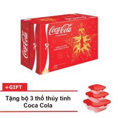 Nước ngọt có ga Coca-Cola thùng 24 lon 330ml + Tặng bộ 3 thố thủy tinh Coca Cola