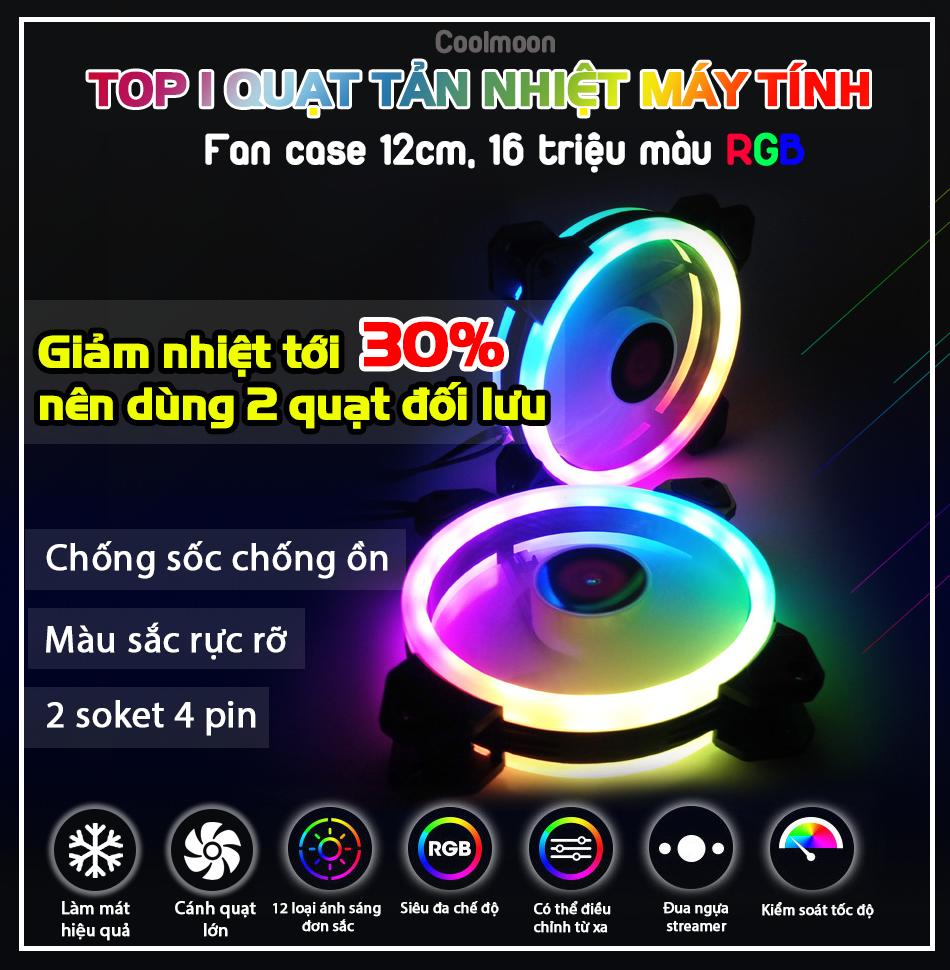 Top 1 Quạt tản nhiệt Máy Tính, Fan case 12cm Led RGB(tự thay đổi màu sắc) Coolmoon V2 gắn thùng PC, có socket 4 pin nhỏ và 4 pin lớn gắn được trên nguồn hoặc main, chống sốc, không gây ồn trang trí và làm mát Desktop computer