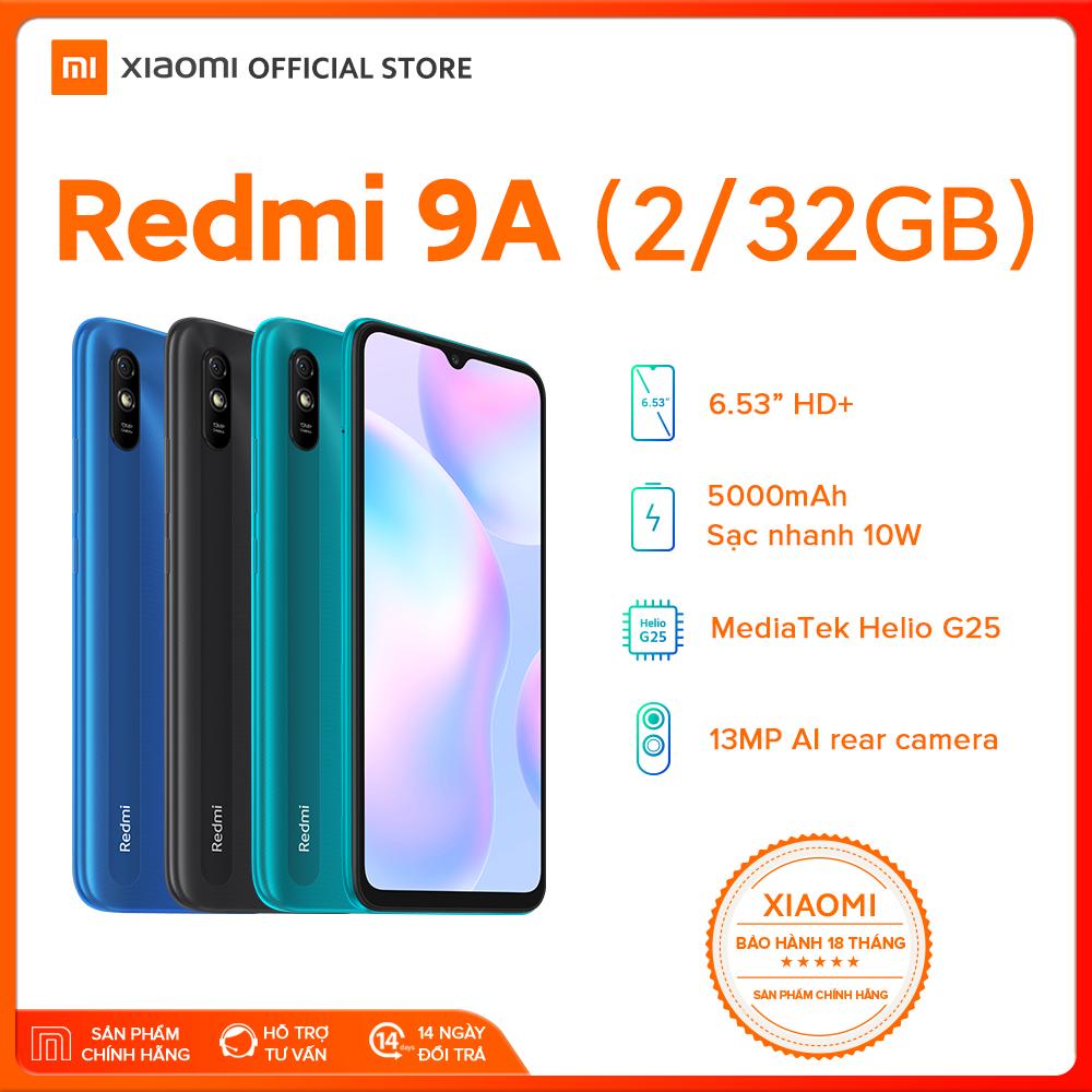 [XIAOMI OFFICIAL] Điện thoại Xiaomi Redmi 9A 2GB/32GB – Chip MediaTek Helio G25 8 nhân (12 nm), Màn hình 6.53″ HD+, Camera 13MP, Pin 5000 mAh, Cảm biến nhận diện khuôn mặt – BH Chính hãng 18 tháng