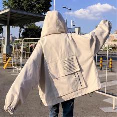 Áo khoác kaki túi hộp sau lưng nam nữ form chuẩn uzzlang thời thượng