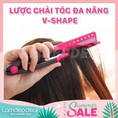 [FS 98K + COMBO GIẢM GIÁ 12K] Lược chải tóc đa năng V-Shape – duỗi thằng – uốn cúp – phồng tóc 3in1 – Lamdepdeal