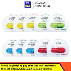 Combo 10 gói Mặt nạ giấy BNBG Vita Genic Jelly Mask 30mlx10 (Lifting, Whitening, Relaxing, Hydrating) Mix đủ 4 loại