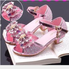 Giày công chúa cao gót bé gái quai nơ đính hạt châu từ 3 – 12 tuổi
