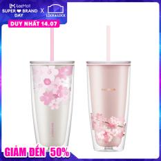 HAP509 – Double Wall Cold Cup Ly nhựa 2 lớp Lock&Lock Cherry Blossom kèm ống hút 750ml – (2 màu Trắng và Hồng )