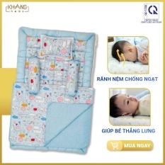 Bộ Nệm Chần Bông Sơ Sinh Khang Home Baby Safety 80x125cm BBS21 – 100% Cotton Thiên Nhiên – Giúp Bé Ngủ Thẳng Lưng Không Cong Vẹo Cột Sống